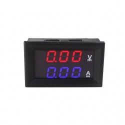Digitaalne volt- ja ampermeeter 0-100V 100A sininine/punane